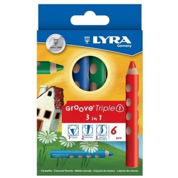 Lyra Ξυλομπογιές Groove Χοντρή 3in1 6τμχ