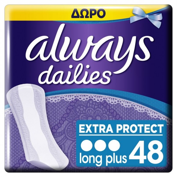 Always Σερβιετάκια Dailies Extra Protect Long Plus 30+18τμχ ΔΩΡΟ
