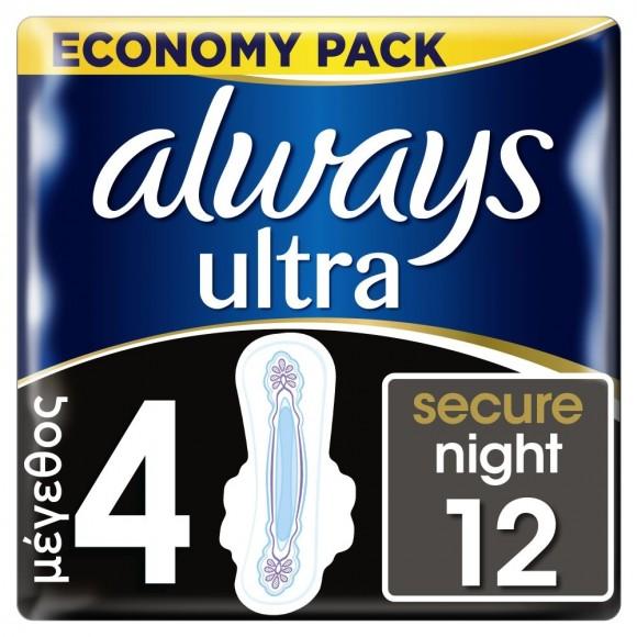 Always Σερβιέτες Ultra Secure Night 12τμχ