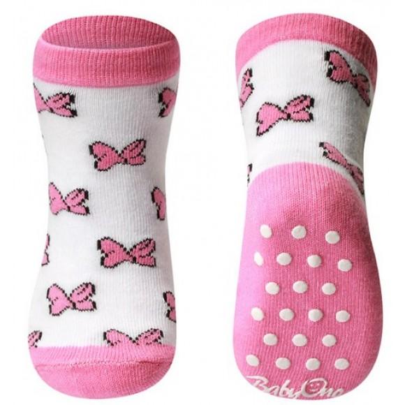 BabyOno Αντιολισθητικά Καλτσάκια με Φιόγκους Ροζ 12-24 μηνών