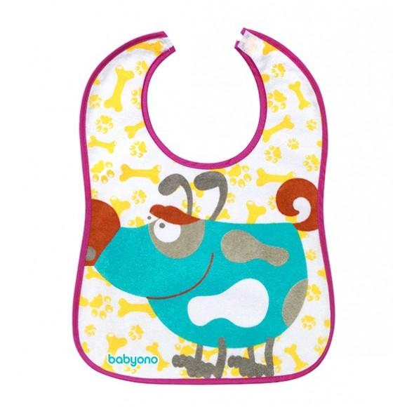BabyOno Βαμβακερή Σαλιάρα Σκυλάκι Μωβ 9 μηνών+