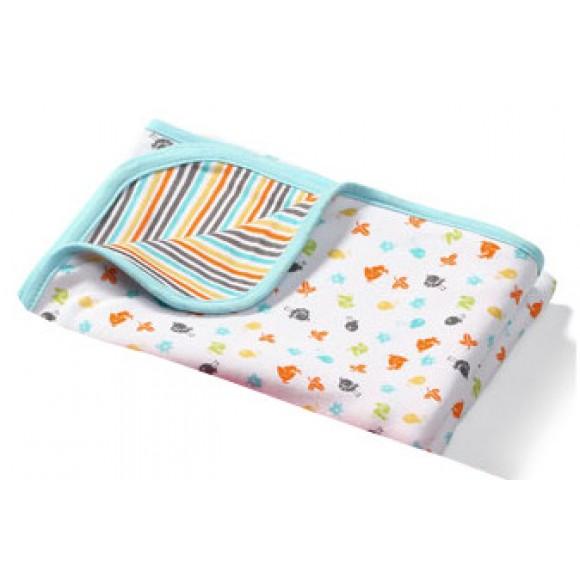 BabyOno Βαμβακερή Κουβέρτα 75x100cm Τιρκουάζ με Σχέδια
