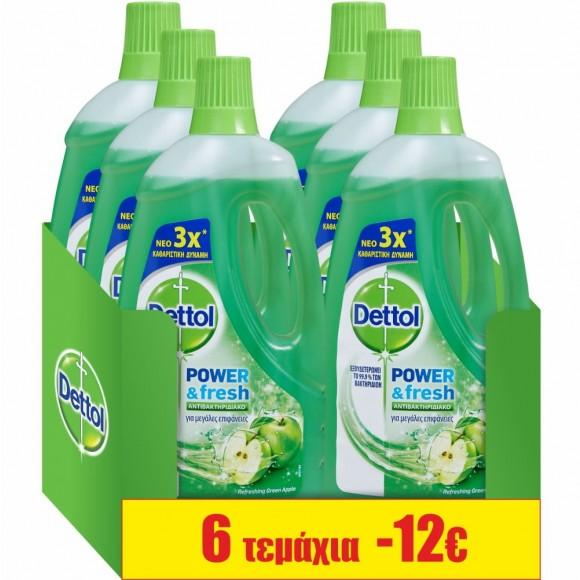 Dettol Καθαριστικό Πατώματος Αντιβακτηριδιακό Πράσινο Μήλο 6x1lt