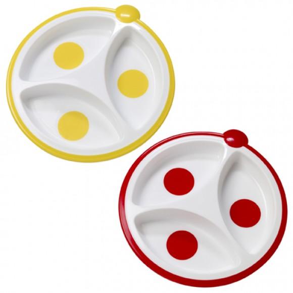 Dr. Brown's Πιάτο 3 Μερίδων 2 τμχ Κόκκινο/Κίτρινο