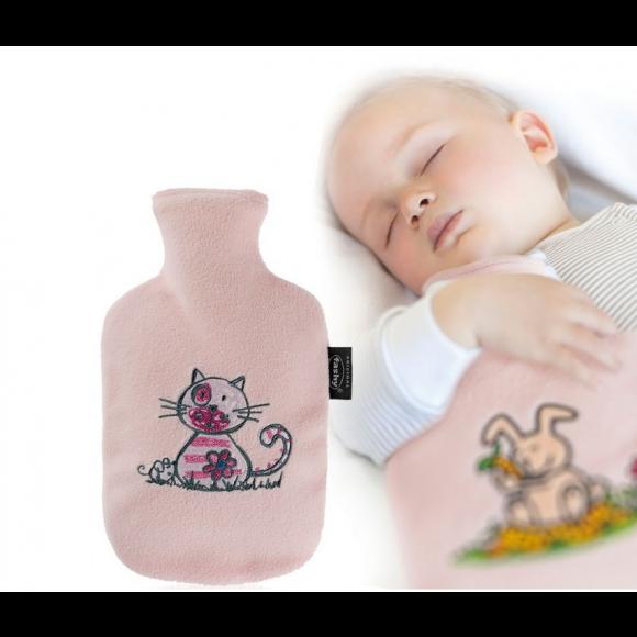 Fashy Παιδική Θερμοφόρα Νερού 0,8 λίτρα με Κάλυμμα Fleece Ρόζ