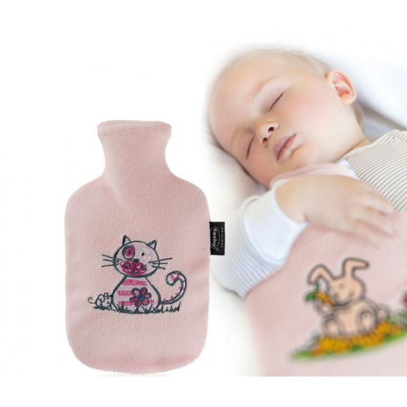 Fashy Παιδική Θερμοφόρα Νερού 0,8 λίτρα με Κάλυμμα Fleece Ροζ