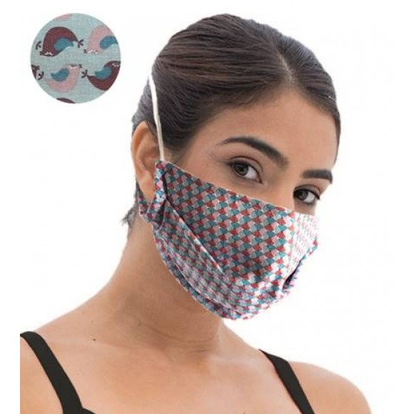 Fashy Υφασμάτινη Μάσκα Χρωματιστή Ενηλίκων (5807) - Τιρκουάζ Πουλάκια