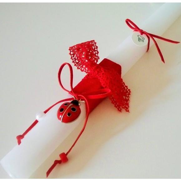 Λαμπάδα με Πασχαλιά κόκκινη σε Λευκό Κερί