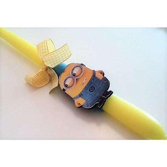 Λαμπάδα Minion σε Στρογγυλό Κίτρινο Κερί