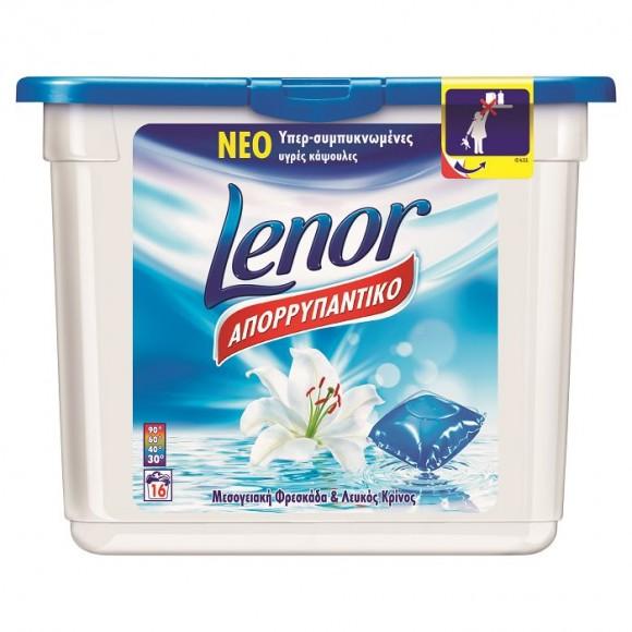 Lenor Απορρυπαντικό Πλυντηρίου Κάψουλες Μεσογειακή Φρεσκάδα 16τμχ