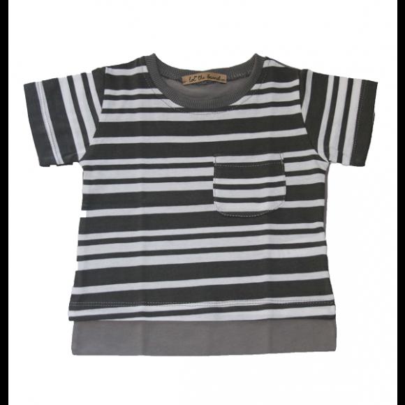 Lol the Brand Μπλουζάκι T-shirt Γκρι Ριγέ 12-18 μηνών