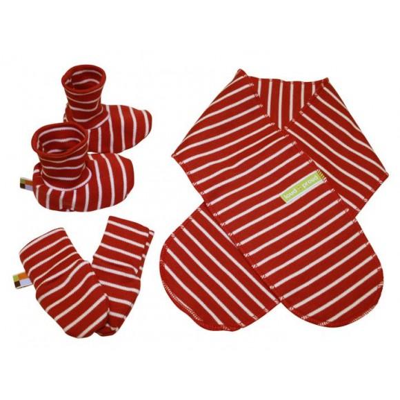 Loud+Proud Σετ για Νεογέννητο Κασκόλ-Γάντια-Πατουσάκια Κόκκινο