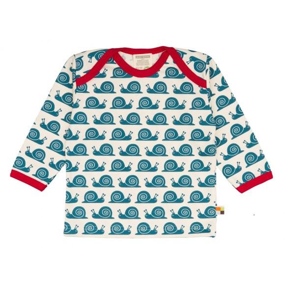 Loud+Proud Μακρυμάνικη Μπλούζα από Οργανικό Βαμβάκι με Σαλιγκάρια Μπλε 6-12 μηνών