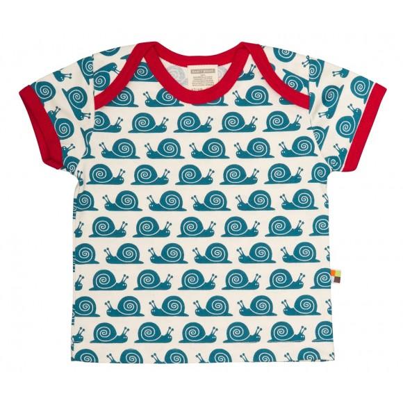 Loud+Proud Κοντομάνικο Μπλουζάκι από Οργανικό Βαμβάκι Μπλε Σαλιγκάρια 12-18 μηνών
