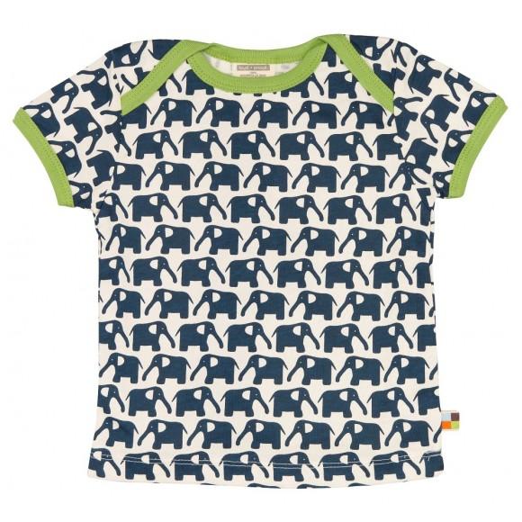 Loud+Proud Κοντομάνικο Μπλουζάκι από Οργανικό Βαμβάκι Μπλε Ελέφαντες 12-18 μηνών