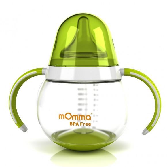 mOmma Μπιμπερό με Κινητή Βάση & Διπλή Λαβή 250ml Χωρίς BPA 6+ μηνών Πράσινο