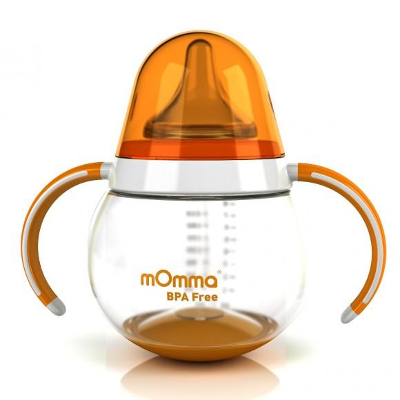 mOmma Μπιμπερό με Κινητή Βάση & Διπλή Λαβή 250ml Χωρίς BPA 6+ μηνών Πορτοκαλί