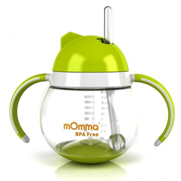 mOmma Κύπελλο με Κινητή Βάση, Καλαμάκι & Διπλή Λαβή 250ml Χωρίς BPA 12+ μηνών Πράσινο
