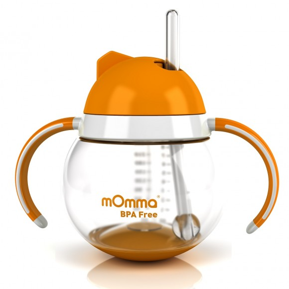 mOmma Κύπελλο με Κινητή Βάση, Καλαμάκι & Διπλή Λαβή 250ml Χωρίς BPA 12+ μηνών Πορτοκαλί