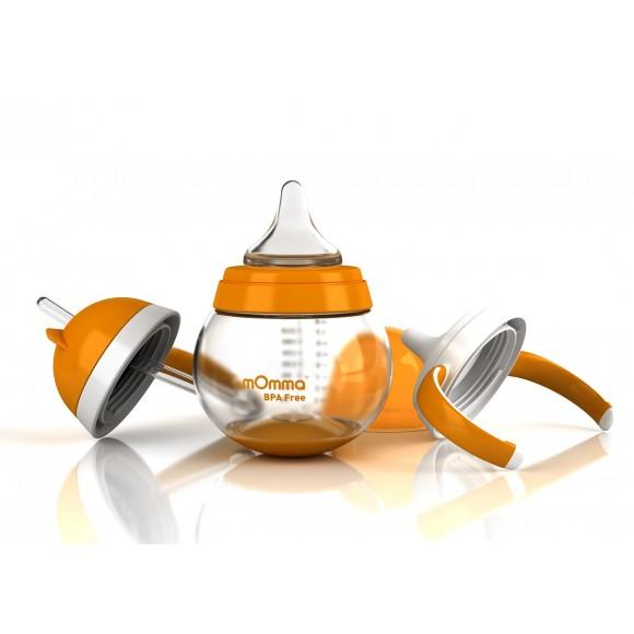mOmma Σετ Ανάπτυξης για Υγρές Τροφές Χωρίς BPA 250ml 6+ μηνών Πορτοκαλί