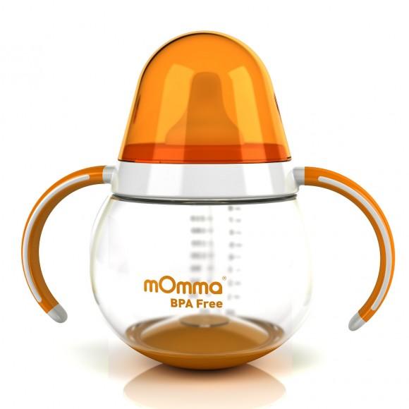 mOmma Κύπελλο Κατά των Διαρροών με Διπλή Λαβή Χωρίς BPA 250ml 9+ μηνών Πορτοκαλί