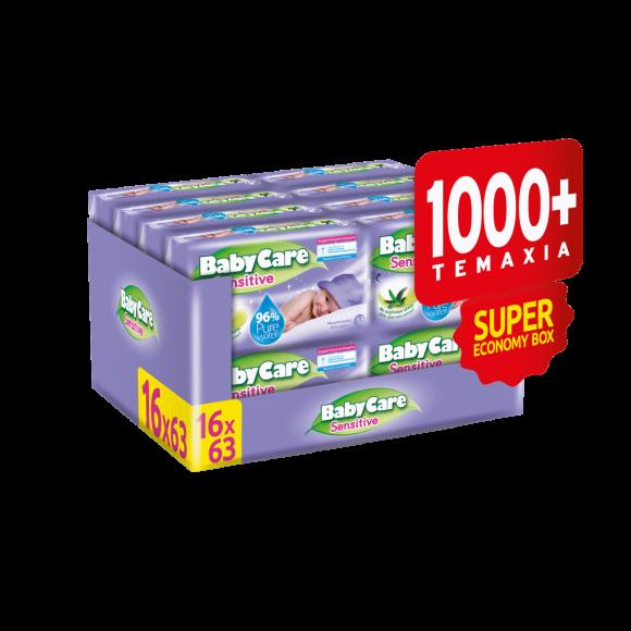 Μωρομάντηλα BabyCare Sensitive Super Value Box 1008τμχ (16x63τμχ)
