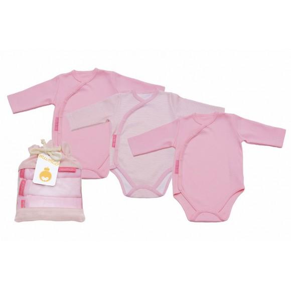 Mumco Σετ Φορμάκια με Μακρύ Μανίκι 3τμχ Ροζ 6-9 μηνών