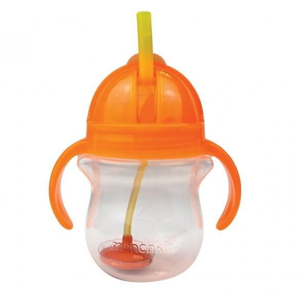 Μunchkin Ποτηράκι με Καλαμάκι Click Lock 207ml Πορτοκαλί