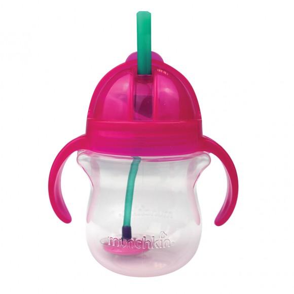 Μunchkin Ποτηράκι με Καλαμάκι Click Lock 207ml Ροζ