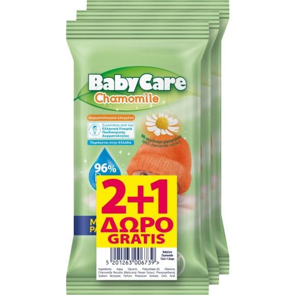 Μωρομάντηλα BabyCare Mini Pack Χαμομήλι Pure Water 36τμχ (3x12τμχ) 2+1 ΔΩΡΟ