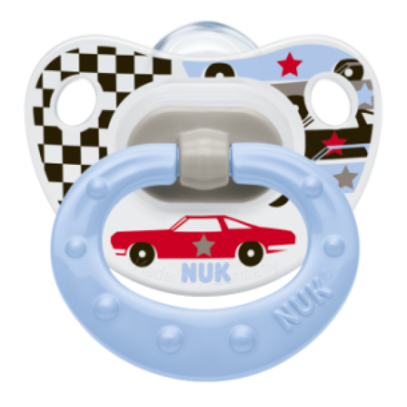 NUK Πιπίλα Classic Happy Days Σιλικόνης 6-18m Μπλε με Αυτοκίνητο