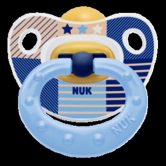 NUK Πιπίλα Classic Happy Kids Καουτσούκ 18-36m Μπλε Αστεράκι