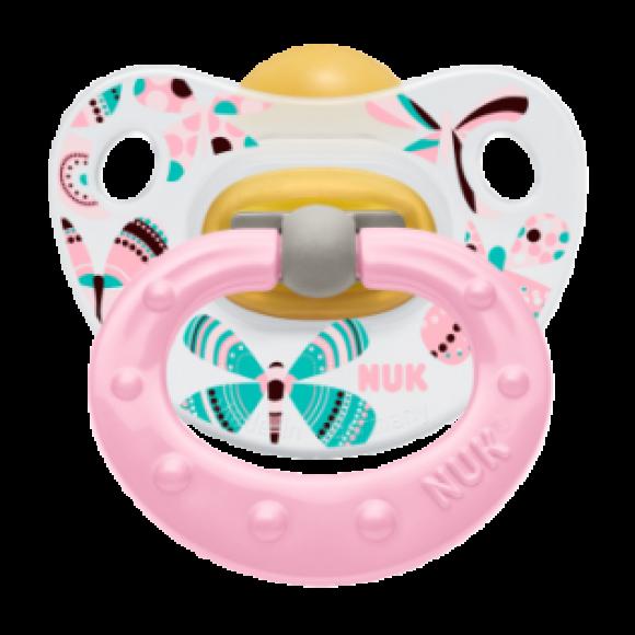 NUK Πιπίλα Classic Happy Kids Καουτσούκ 0-6m Ροζ