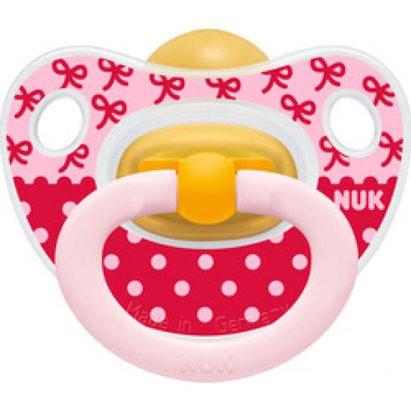 NUK Πιπίλα Classic Happy Kids Καουτσούκ 6-18m Ροζ Κορδέλες