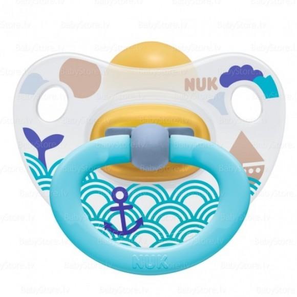 NUK Πιπίλα Classic Happy Kids Καουτσούκ 6-18m Τιρκουάζ Θάλασσα