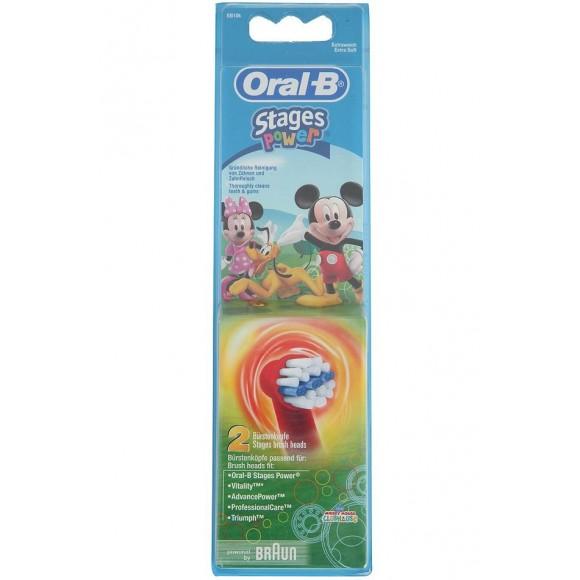Oral B Ανταλλακτικά Επαναφορτιζόμενης Οδοντόβουρτας Stages Power Mickey 2τμχ