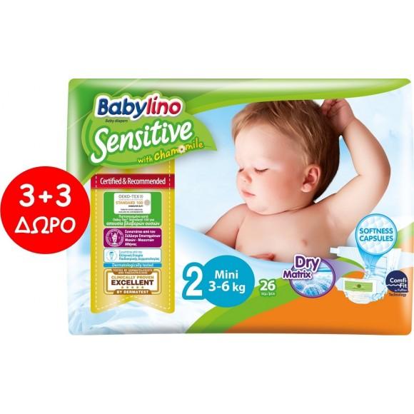 Πάνες Babylino Sensitive No2 (3-6Kg) Carry Pack 6x26τμχ (156τμχ)