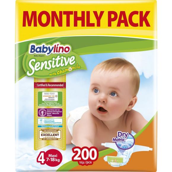 Πάνες Babylino Sensitive Monthly Pack No4 (7-18Kg) 200τμχ