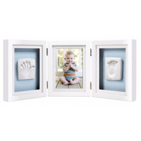 Pearhead Κορνίζα Αποτύπωμα Λευκή Τριπλή Babyprints Deluxe Frame