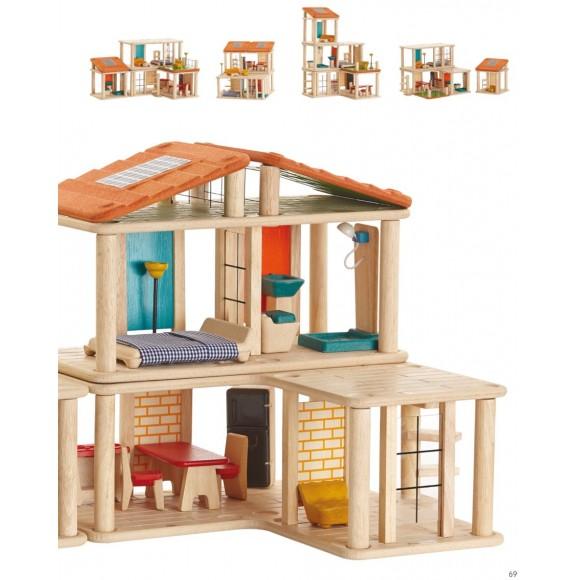 Plan Toys Δημιουργικό Κουκλόσπιτο Ξύλινο με Επίπλωση 7610