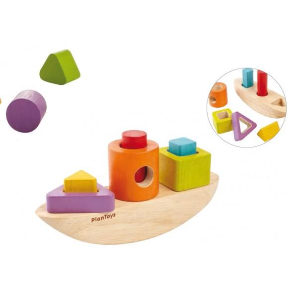 Plan Toys Ξύλινη Βάρκα με Γεωμετρικά Σχήματα 5429