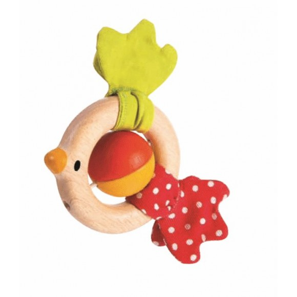 Plan Toys Ξύλινη Κουδουνίστρα Πουλάκι 5216