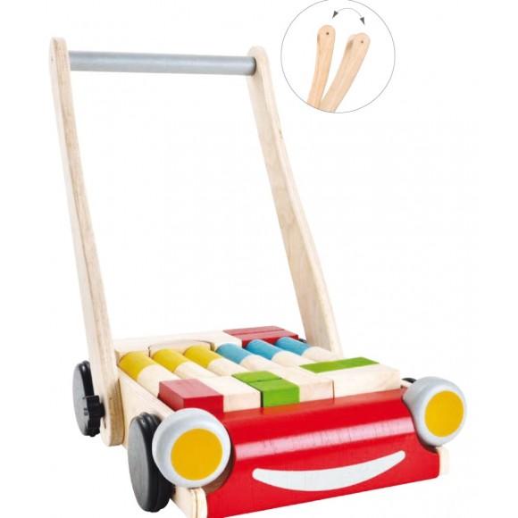 Plan Toys Ξύλινη Περπατούρα Μωρού με Τουβλάκια 5123