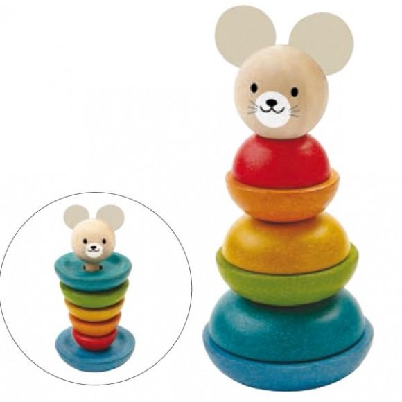 Plan Toys Ξύλινη Πυραμίδα Κρίκων Αρκουδάκι 5681