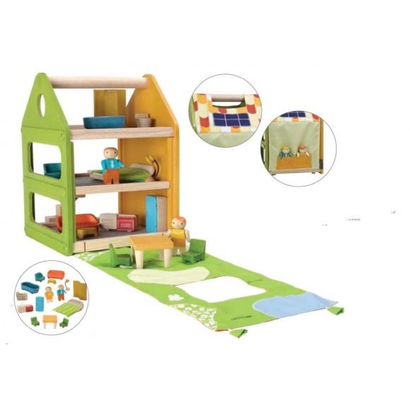 Plan Toys Ξύλινο Κουκλόσπιτο Εξοπλισμένο 7600