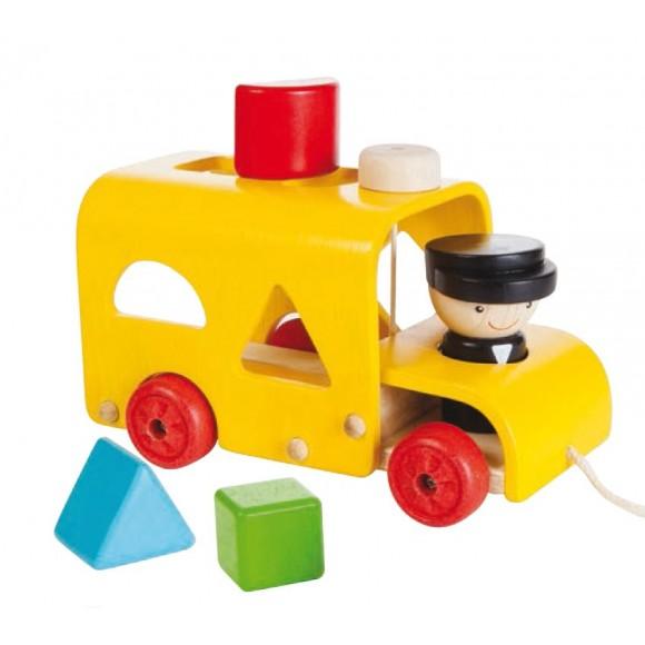 Plan Toys Ξύλινο Λεωφορειάκι Ταξινόμησης Σχημάτων 5121