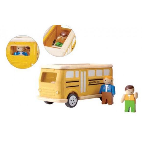 Plan Toys Ξύλινο Όχημα Σχολικό Λεωφορείο 4610