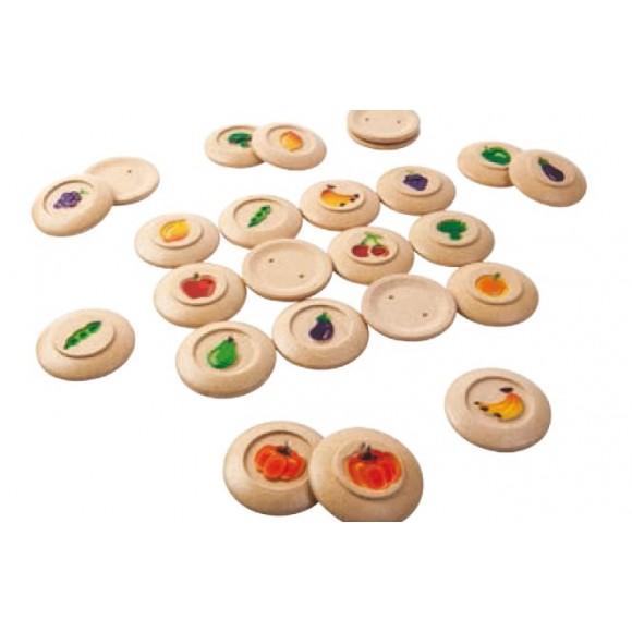 Plan Toys Ξύλινο Παιχνίδι Μνήμης με Φρούτα & Λαχανικά 5638