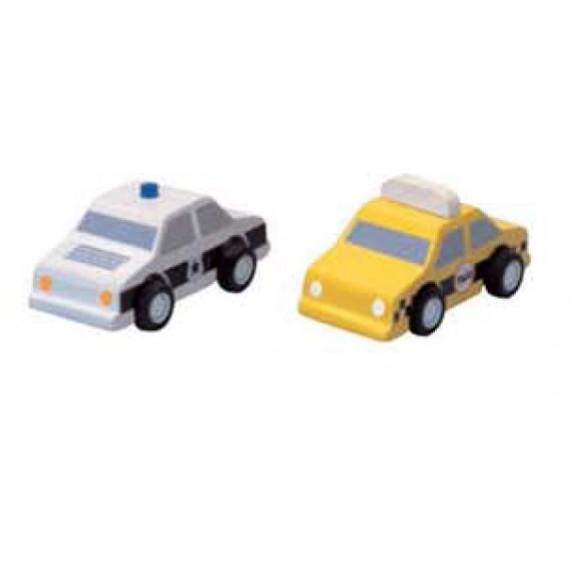 Plan Toys Mini Ταξί & Περιπολικό Ξύλινα 2τμχ