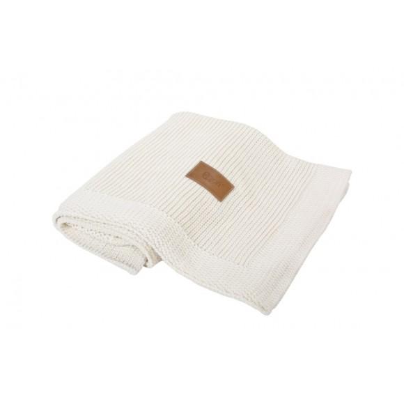Poofi Πλεκτή Οργανική Κουβέρτα 90x75εκ Cream
